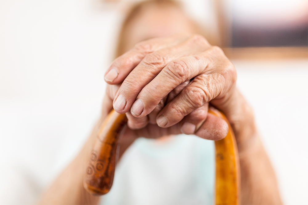 Older hands holding an ornate cane.